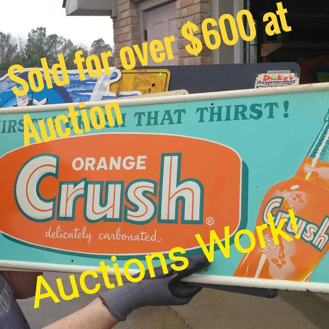 Dalton Auctions Vintage Orange Crush Sign